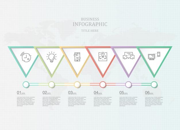 Infographie cinq élément et icônes pour présentation d'entreprise