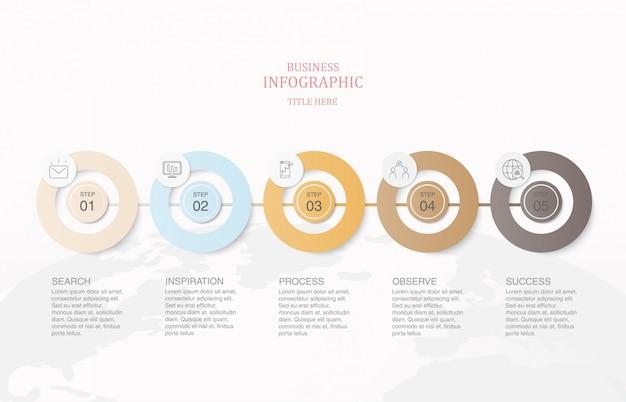 Infographie cinq éléments cercles et icônes.