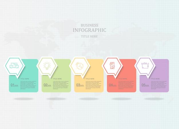 Infographie cinq éléments et icônes pour présentation d'entreprise