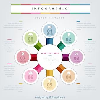 Infographie circulaire à huit étapes et cercles colorés