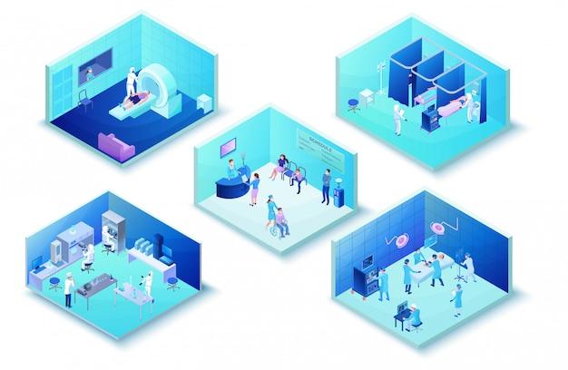 Infographie de la clinique médicale de l'hôpital avec des patients atteints de coronavirus 2019-ncov