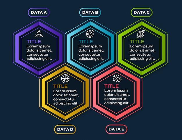 Infographie coloré avec 5 options de données
