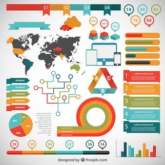 Infographie coloré avec carte du monde