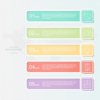 Infographie coloré cinq éléments et icônes pour présentation d'affaires