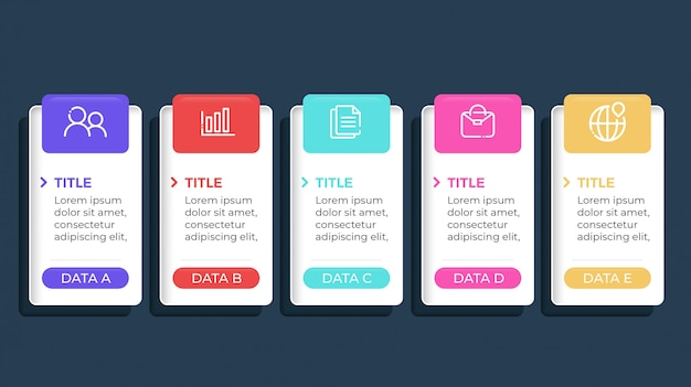 Infographie colorée avec 5 étapes d'options