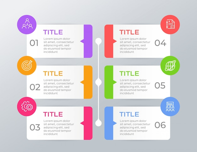 Infographie colorée avec 6 options