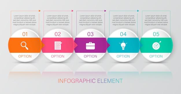 Infographie colorée avec 6 zones de texte