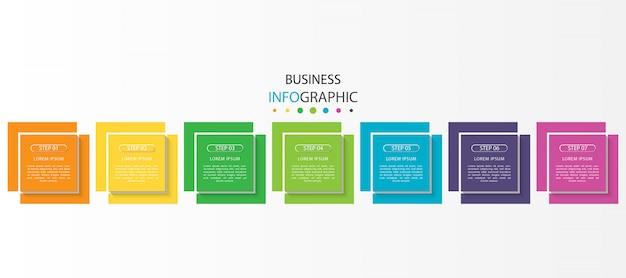 Infographie colorée avec 7 étapes ou options