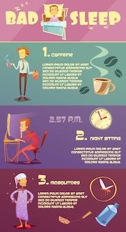 Infographie colorée de mauvais sommeil