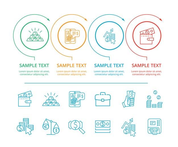 Infographie commerce et illustration de texte