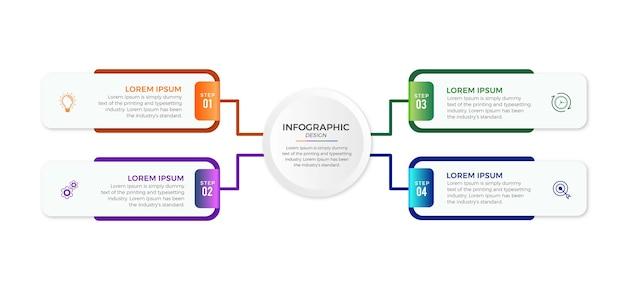 Infographie commerciale 4 options ou étapes premium