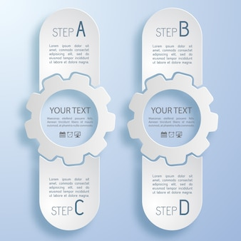 Infographie commerciale abstraite de couleur claire avec engrenages