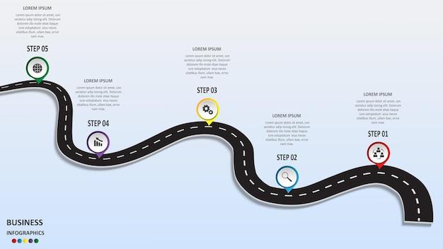Infographie commerciale abstraite sous la forme d'une route automobile avec marquages routiers, marqueurs