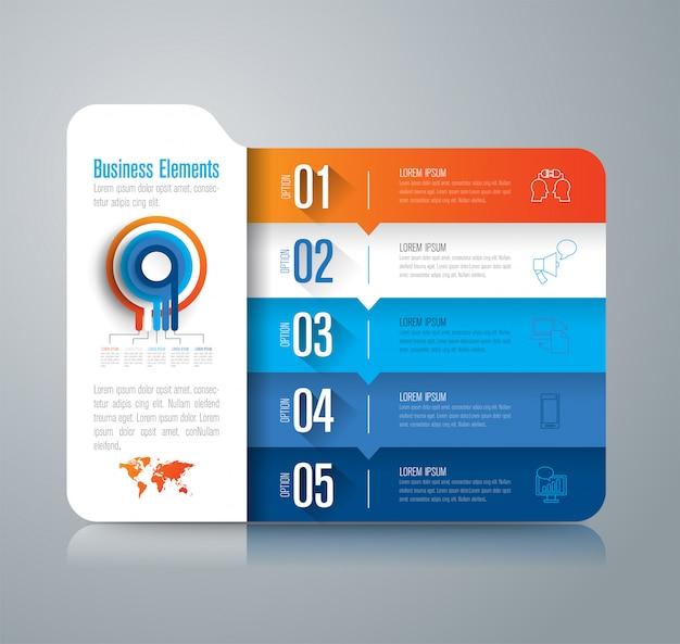 Infographie commerciale avec étapes et options