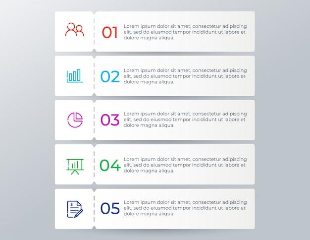 Infographie commerciale moderne avec 5 étapes d'options