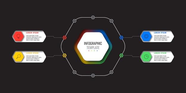 Infographie commerciale moderne avec des éléments réalistes. modèle de rapport d'entreprise