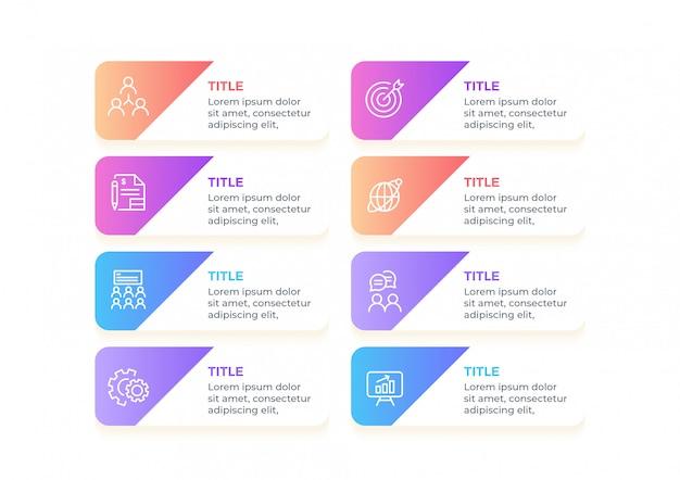 Infographie commerciale multicolore avec 8 options