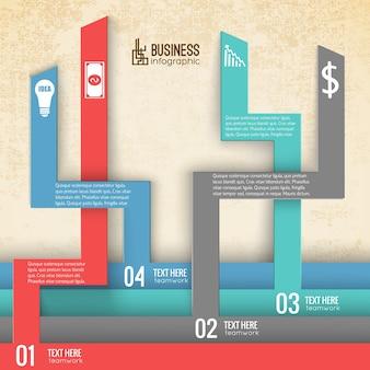 Infographie commerciale avec onglets numérotés verticaux