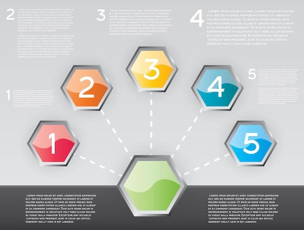 Infographie de conception avec cinq options. illustration vectorielle.