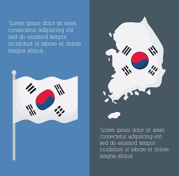 Infographie de la conception de la corée du sud avec carte et drapeau