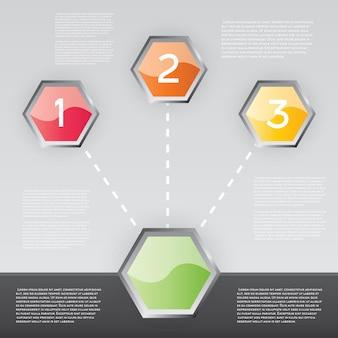 Infographie de conception avec trois options. illustration vectorielle.
