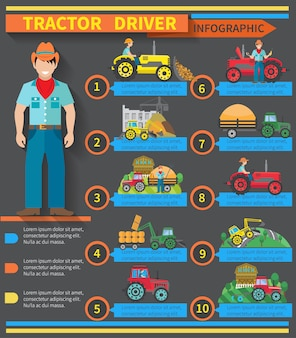 Infographie de conducteur de tracteur sertie de symboles de machines agricoles et de construction - illustration vectorielle