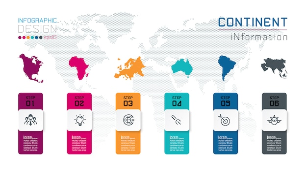 Infographie continentale informations sur l'art graphique vectoriel.