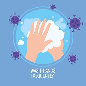 Infographie sur le coronavirus avec campagne de lavage des mains fréquemment