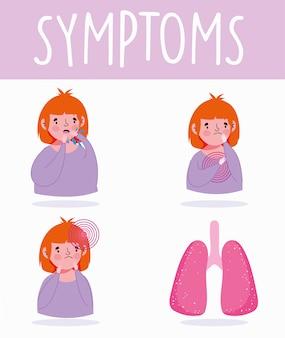 Infographie de coronavirus covid 19, symptômes maux de gorge, essoufflement, illustration vectorielle de maladie respiratoire