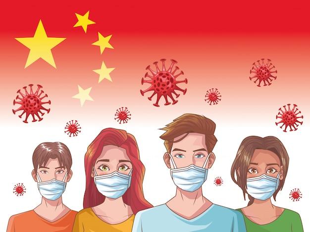 Infographie de coronavirus avec des personnes utilisant un masque