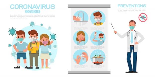 Infographie de coronavirus présente par la conception de personnages de dessins animés