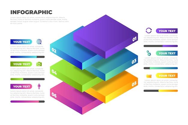 Infographie des couches de blocs 3d
