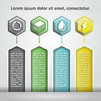 Infographie couleur hexagon,