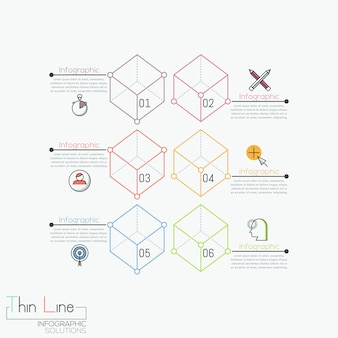 Infographie créative, 6 cubes transparents numérotés