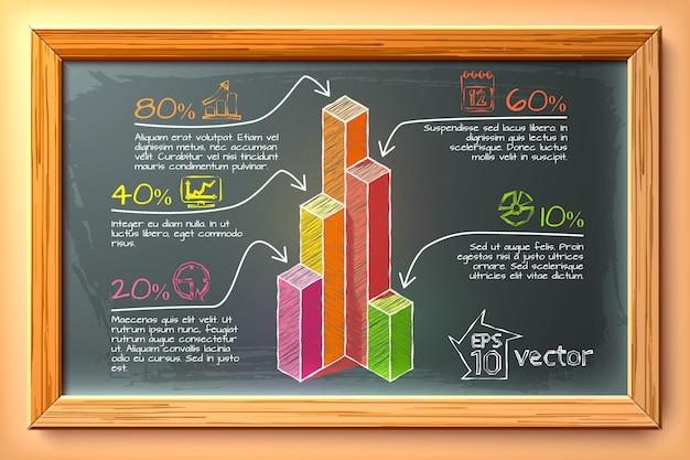Infographie de croquis d & # 39; entreprise avec des graphiques colorés cinq options de texte icônes sur tableau noir dans l & # 39; illustration de cadre en bois