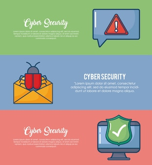 Infographie de cyber sécurité avec ordinateur et icône de l'enveloppe