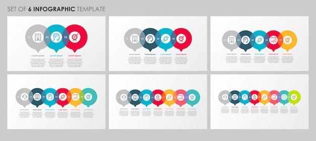 Infographie définie avec des icônes et 3, 4, 5, 6, 7, 8 options ou étapes. concept d'entreprise.