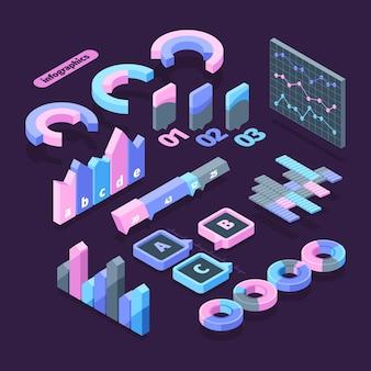 Infographie définie illustration d'élément isométrique