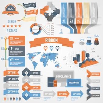 Infographie définie avec des options. graphiques et éléments d'entreprise cercle style origami