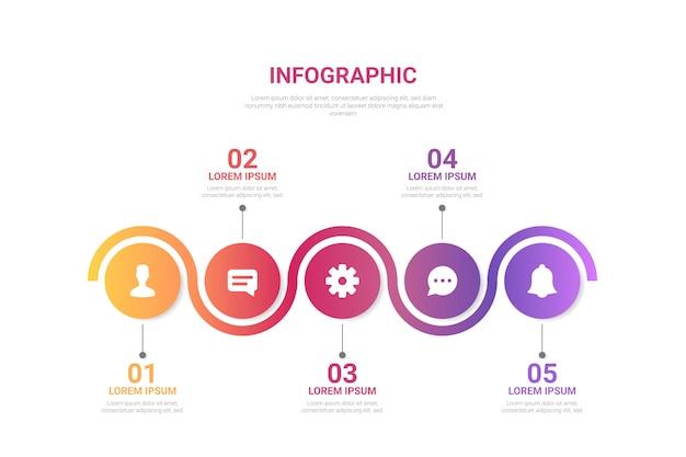 Infographie en dégradé avec étapes