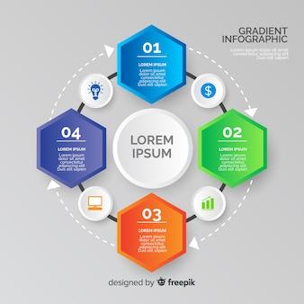 Infographie en dégradé avec des formes hexagonales