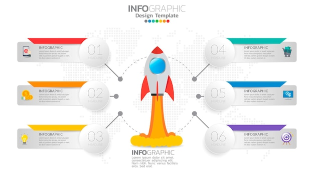 Infographie de démarrage en 6 étapes avec lancement de fusée. concept commercial et financier.