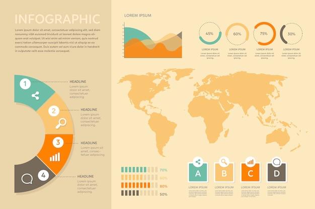 Infographie avec design de couleurs rétro