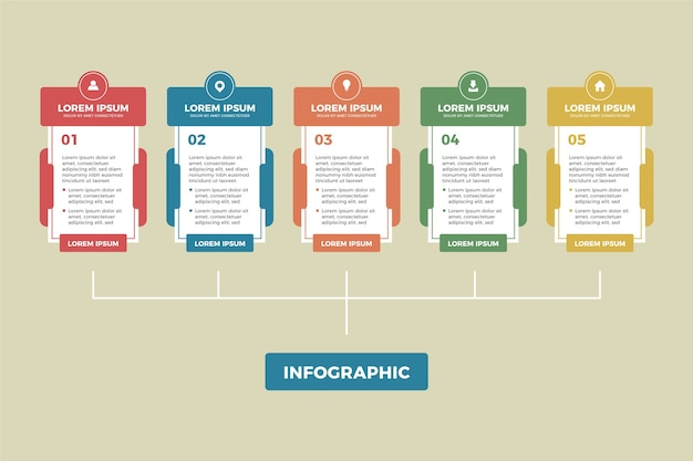 Infographie design plat avec des couleurs rétro