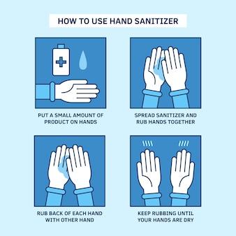 Infographie de désinfectant pour les mains