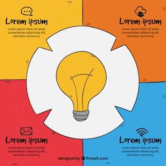 Infographie dessinée avec une ampoule à la main
