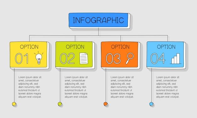 Infographie dessinée à la main colorée avec 4 options et zones de texte colorées
