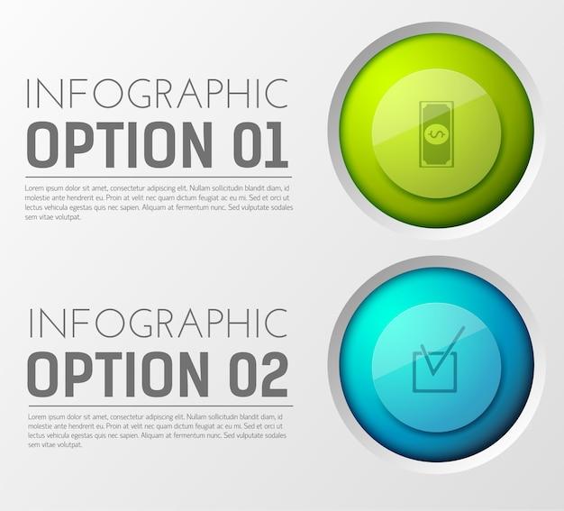 Infographie avec deux paragraphes d'options de texte modifiable et icône de cercle appropriée