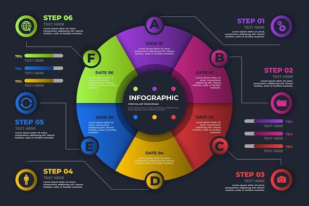Infographie de diagramme circulaire dégradé