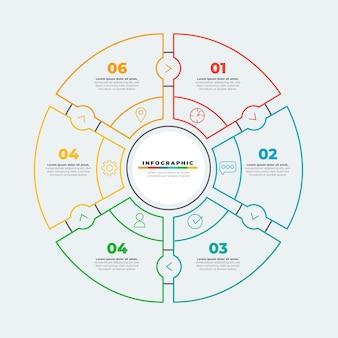 Infographie de diagramme circulaire plat linéaire